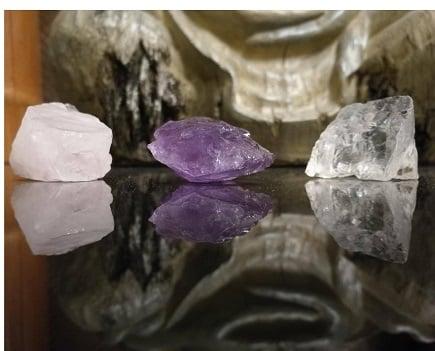 Amethyst, Bergkristall, Rosenquarz
